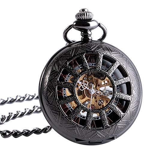 ManChDa® Hombres Vintage Negro Mecánica Reloj de bolsillo Elegante Grabado Caso de hueco Números Romanos Movimiento de oro con Cadena + Caja de regalo: ...