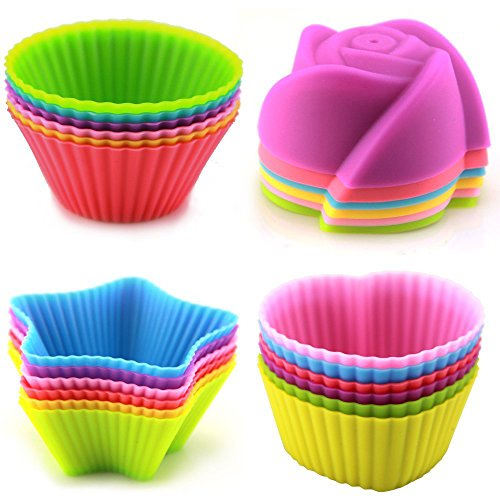 LENK Silicone Baking Cups,Set of 24 Reusable BPA Free Nonstick Cupcake Liners,4 Shapes 6 Colors Food Grade Muffin Molds With High Heat Resistance For Cupcakes (Desert Machine High)