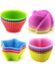 LENK Silicone Baking Cups,Set of 24 Reusable BPA Free Nonstick Cupcake Liners,4 Shapes 6 Colors Food Grade Muffin Molds With High Heat Resistance For Cupcakes