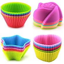 LENK Silicone Cupcake Liners,24 Pieces Nonstick Nonstick Reusable Muffin Cups for Kids Baking, 4 Shapes Round Star Heart Rose,Multi Colors