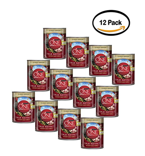 PACK OF 12 - Purina ONE SmartBlend True Instinct Classic Ground with Real Chicken & Duck Dog Food 13 oz. Can