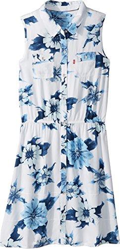 Levi's Big Girls Sleeveless Dress, White Printed, M