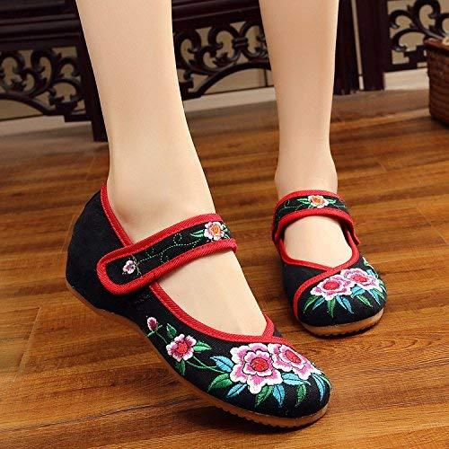 Fuxitoggo Bestickte Schuhe Sehnensohle Ethno-Stil weibliche Stoffschuhe Mode bequem lässig im Anstieg schwarzer roter Rand 41 (Farbe   - Größe   -)