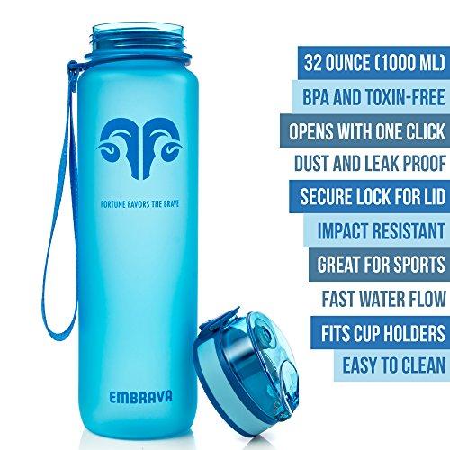 c37ff8e4e9 Embrava Best Sports Water Bottle - 32oz Large - Fast Flow, Flip Top Leak  Proof