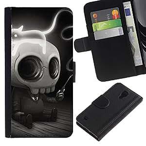 Protector de cuero de la PU de la cubierta del estilo de la carpeta del tirón BY RAYDREAMMM - Samsung Galaxy S4 IV I9500 - Divertido lindo del cráneo gótico