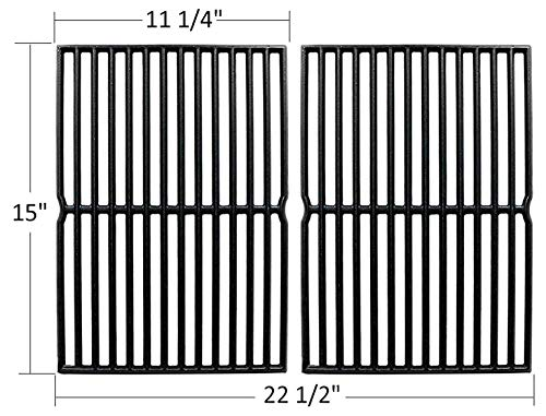 (Outspark Matte Cast-Iron Cooking Grates (15 x 11.3) for Weber Spirit 200 Series, Spirit 500, Genesis Silver A, Grill Grids Replacement Parts for Weber 7521, 7522- Set of 2 )