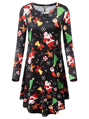 - GUBERRY Womens Santa Dresses Christmas Long Sleeve Gingerbread Swing Midi Dress