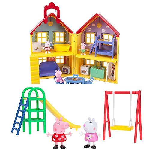 2 LOT Pepa Pig Bundle: #1 Peppa Pig's Deluxe Play House & #2 7965Peppa Pig Playground Fun Peppa Playtime Set (Deluxe Playhouse)