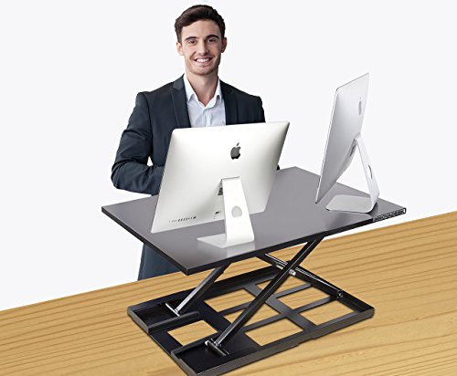 Standing Desk Converter- INNOVADESK 32x22 inch, Basics Height Adjustable Desk-Sit to Stand Desk Converter Workstation-Sit Stand Computer Riser- The Best Adjustable Stand Up Desk- Fully Assembled-Black by Innovadesk