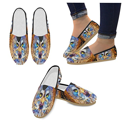 D-histoire Mode Sneakers Appartements Femmes Classique Slip-on Chaussures Chaussures Mocassins Lapin Hibou
