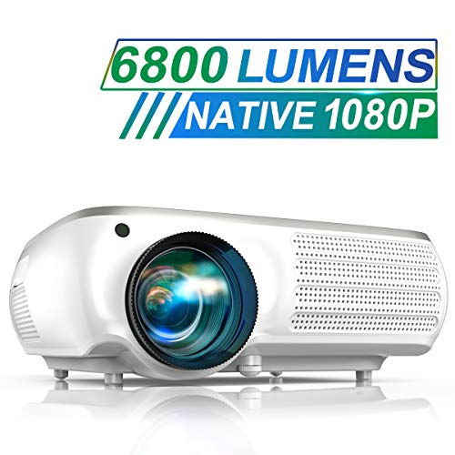 Projector, TOPTRO 6500 Lumens Native 1080P Video Projectors, Support 4K, 4D Digital Keystone Correction for Home Theater, Compatible with Smartphone, PC, TV Box, PS4, White