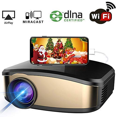 WiFi Projector, iBosi Cheng Portable Mini LCD Video Projector Full HD 1080P LED Home Theater Projector with HDMI/USB/VGA/AV Input for Smartphones PC Laptop Gaming Devices