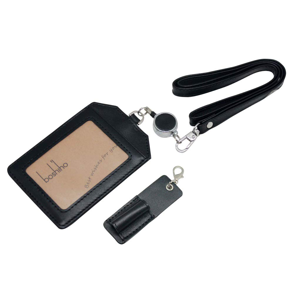 56a48810 Office Badge Holder - Boshiho Genuine Leather Credit ID Card Holder with  Stretch Neck Lanyard Vertical Style (Black)