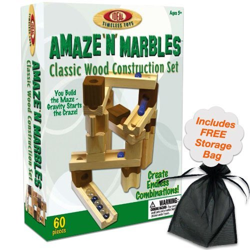 - 60 Piece Amaze N' Marbles Classic Wood Construction Set w/Free Storage Bag
