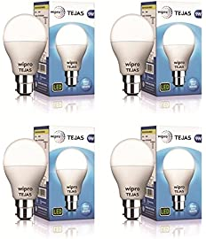 Wipro Tejas Base B22 9-Watt LED Bulb (Pack of 4, Cool Day Light) (Cool Day Light)
