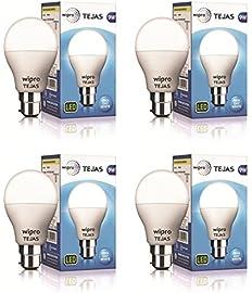 Wipro Tejas Base B22 9-Watt LED Bulb (Pack of 4, Cool Day Light) (Cool Day Light)