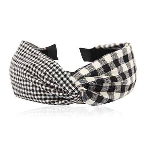 Bohemian Top Knot Fabric Headband - Bow Criss Cross Tie Fabric Wrap Hairband (Knot Gingham - Black)