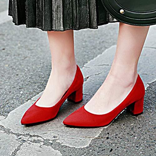 de Puntiagudos Tacones Altos Trabajo Bombas Las resbal Mujeres Zapatos Gruesas Zapatos wqgg86S