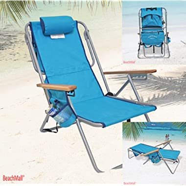 High Back Steel 5 pos. LayFlat Backpack Beach Chair Rio Colors SC: Light Blue -Cooler Pouch, 5 pos LayFlat