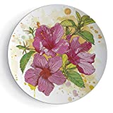 """7"""" Porcelain Dinner Plate with Stand Floral for Gift Family Vibrant Hibiscus Flower Bouquet Exotic Elegance Watercolor Art"""
