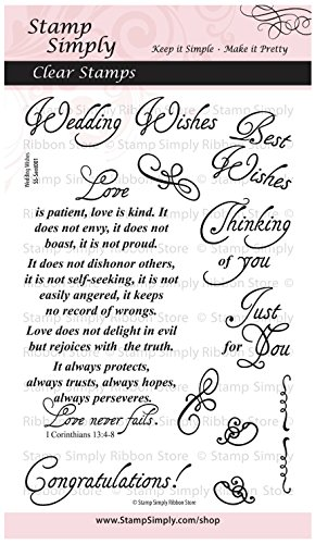 Stamp Simply Clear Stamps Wedding Wishes Set Christian Religious 4x6 Inch Sheet - 11 Pieces ()