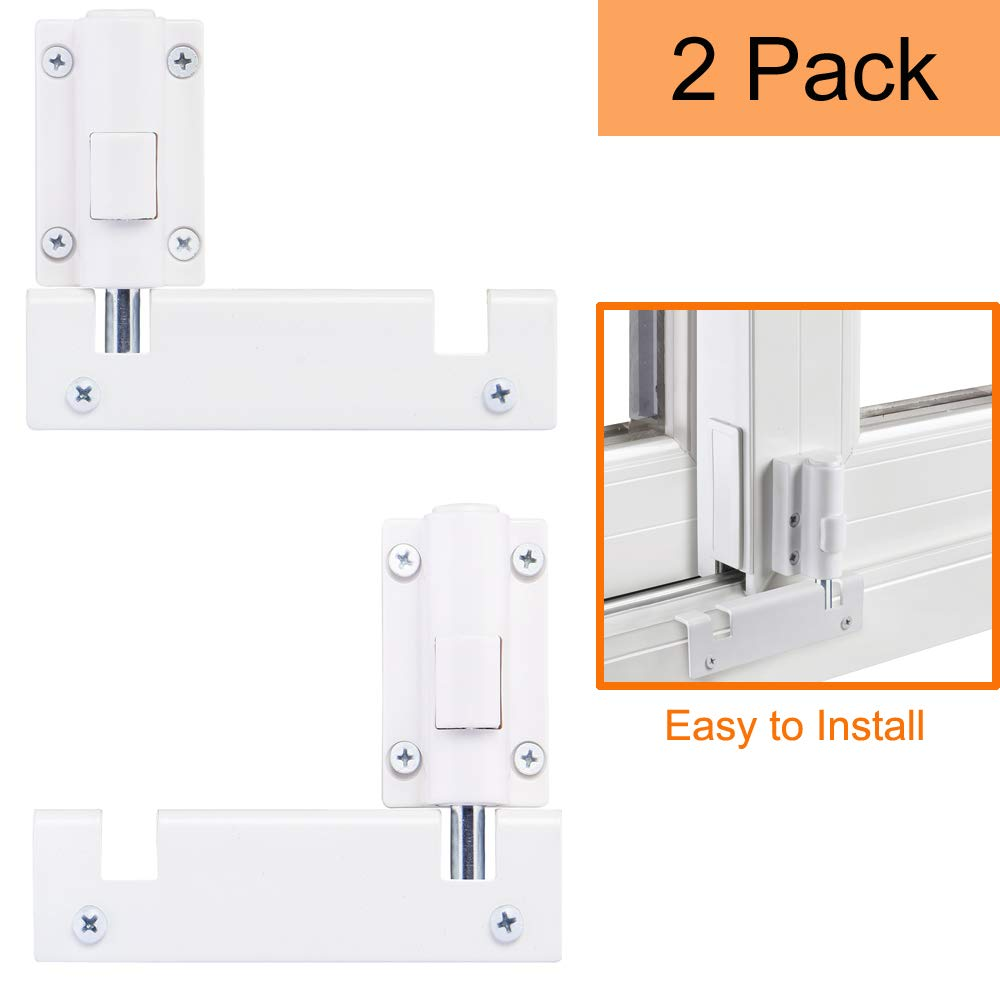 HauSun Patio Sliding Door Security Foot Lock Kick Lock, Fits on Top Rail-Childproof Patio Door Guardian-or Bottom Rail-Foot Operated-Keep Your Family Safe and Secure,2 Pack by HauSun