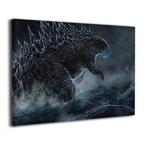 Little Monster Godzilla is Coming Stretched Printed On Canvas Decorations Modern Art for Child Bedroom Living Room