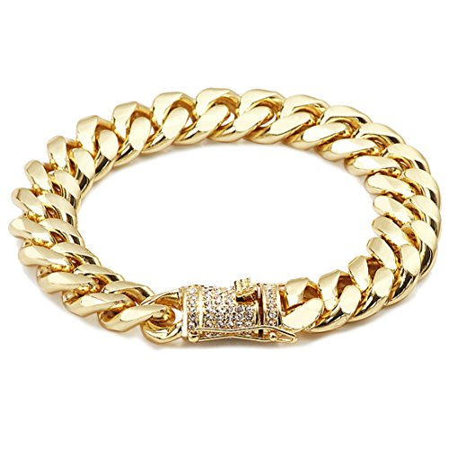 Gold Filled 14kt Cuban Link Chain Bracelets 14MM High With Lab Simulated Diamonds USA Made! (8) 14kt Gold Curb Chain Bracelet