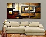Mon Art 100% Hand Painted Oil Painting Abstract Art Large Modern Art 3 Piece Wall Art Canvas Art for Home Decoration (Stretch/Frame) Picture