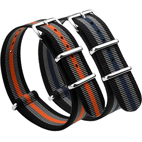 - NATO Strap 2 Packs Canvas Fabric Nylon Watch Straps with Stainless Steel Buckle,Adebena Ballistic Replacement NATO Watch Bands Width 22mm Black/Grey/Blue and Black/Grey/Orange