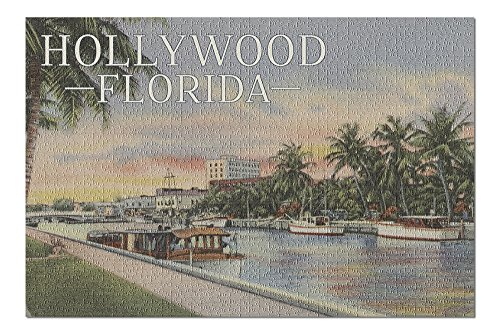 (Hollywood, Florida - Boats and Canal - Vintage Postcard (20x30 Premium 1000 Piece Jigsaw Puzzle, Made in USA!))