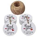 Thank You for Celebrating with Us Tags,5 cm Thank You Gift Tags with Red Heart,100 Pcs Wedding Favour Tags with 100 Feet Jute Twine for Baby Shower and Wedding Favours(White)