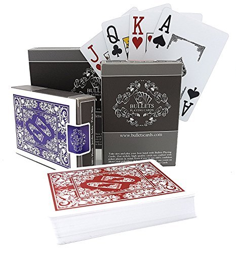 Bullets Playing Cards: Two Decks of Waterproof Designer Poker Cards in Deluxe 100% Plastic with Jumbo Index and Two pips – Professional Premium Playing Cards for Texas Holdem Poker