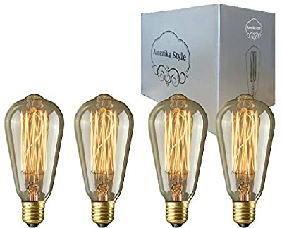 Edison Bulb 60W Vintage Incandescent Dimmable Squirrel Cage Filament ST64 Edison light E26 E27 Screw Base 230 Lumens 4 Pack For Chandeliers Wall Sconces Pendent Lighting 110-130V Teardrop Design
