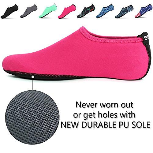 SENFI Unisex Wasser Haut Schuhe Barfuß Aqua Socken für Pool-Wasser-Aerobic-Übung 01pink
