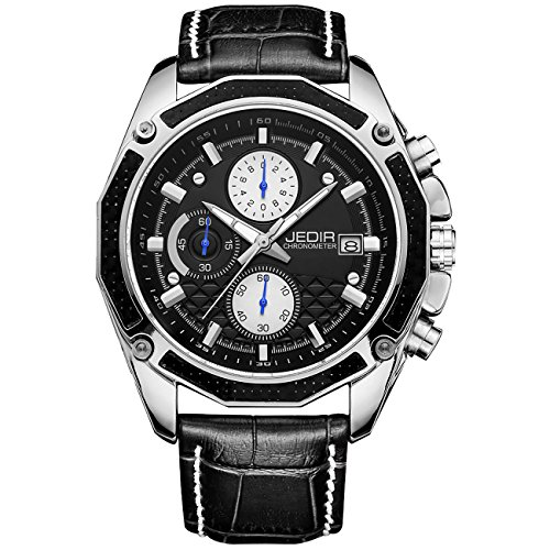 Jedir Men Chronograph Watch Black Sport Military Quartz Analog Dial With Date Multifunction Leather Strap