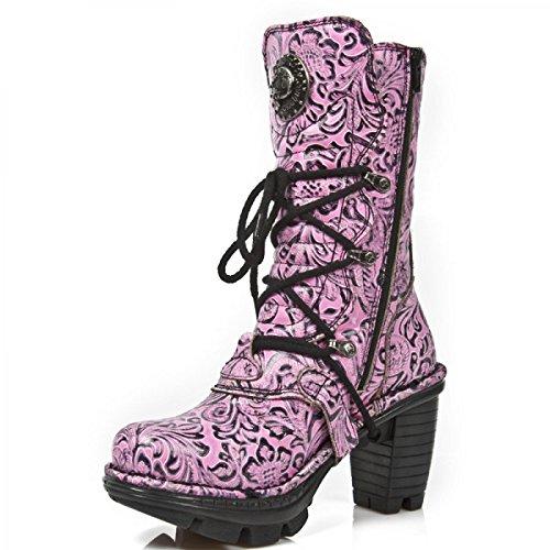 New Rock Boots M.neotr005-r16 Gotico Hardrock Punk Damen Stiefel Rosa