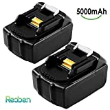 Reoben 5.0Ah BL1850 Replacement for Makita 18V Battery LXT Lithium ion BL1860 BL1840 BL1815 BL1845 BL1835 LXT400 Cordless Power Tools 2 Packs