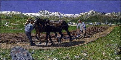 Posterlounge Forex 40 x 20 cm: The Ploughing di Giovanni Segantini/ARTOTHEK
