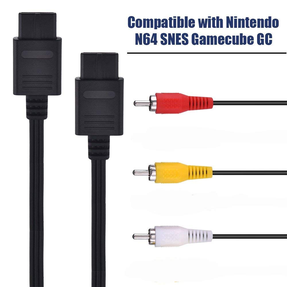 AV Cable Composite Video Cord Compatible with Nintendo  64/N64/GameCube/Super Nintendo SNES TV Game(6 Feet)