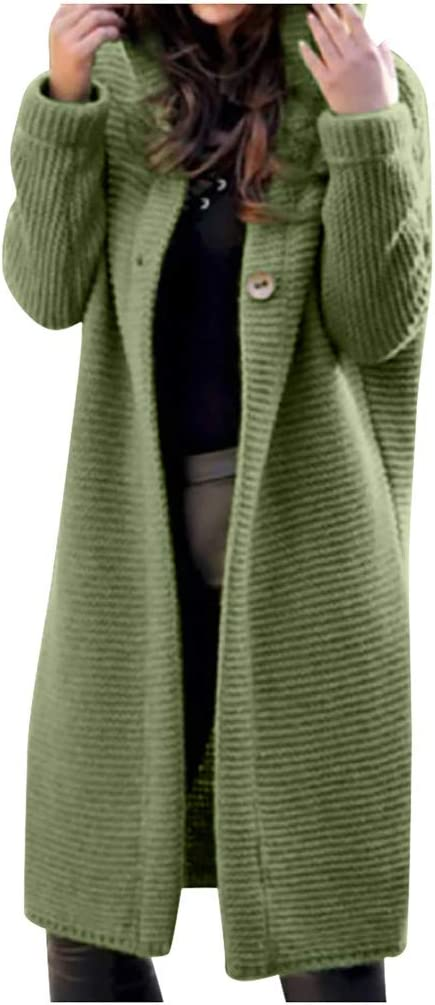 Women's Sweater Overcoat,Ladies Hooded Buttons Chunky Knitted Cardigan Long Sleeve Winter Warm Solid Jumpers Knitwear