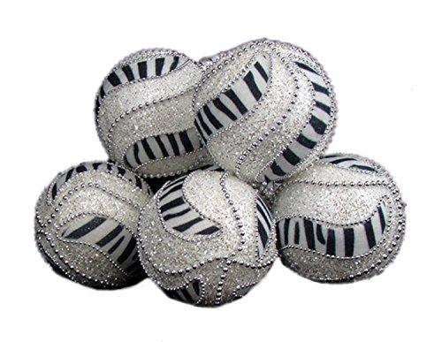 December Diamonds 6 Zebra Print Shatterproof Christmas Ball Ornaments 3.75