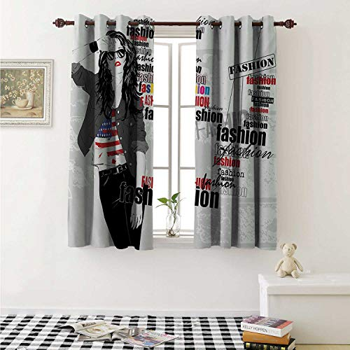 Girls Customized Curtains Modern Teen Girl with USA Flag T Shirt Fashion Obsession Beauty in The Street Curtains for Kitchen Windows W63 x L45 Inch Black White Red ()