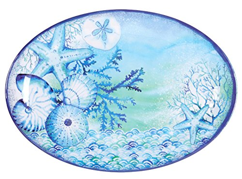 Nantucket Home Blue Sea Life Oval Melamine Serving Platter, 18-Inch x 14-Inch