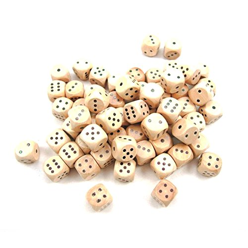 StarMall Set of 10 16MM Round Wooden Dice - Wooden Toy Vintage