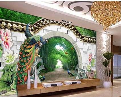 Buy New 3D spring bamboo forest arches brick wall peacock