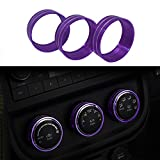 3pcs Audio Air Conditioning Button Cover Decoration Twist Switch Ring Trim for Jeep Wrangler JK JKU Compass Patriot 2011-2016 (Purple)