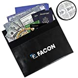 Facon Silicone Fireproof Bag 15 x 11 inches Fire Resistant Silicone Coated Heat and Water Resistant Portable Bag File Document Holder - Safe Storage for Jewelry and Valuables