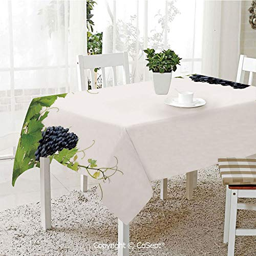 SCOXIXI Water Resistant Tablecloth,Wine Leaf with Loose Bunch of Large Berries Tannin Breed French Village,Washable Tablecloth Dinner Picnic Table Cloth Home Decoration(55.11