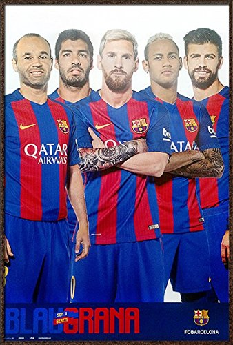 d9a2e37d1 FC Barcelona - Framed Sports Poster/Print (The Star Players - Lionel Messi,  Nymar Jr.) (Size: 24